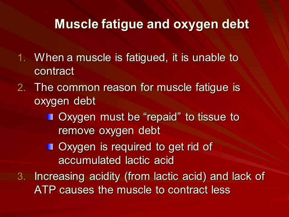 Muscle fatigue and oxygen debt 1. When a muscle is fatigued, it is unable to contract 2. The common reason for muscle fatigue is oxygen debt Oxygen mu