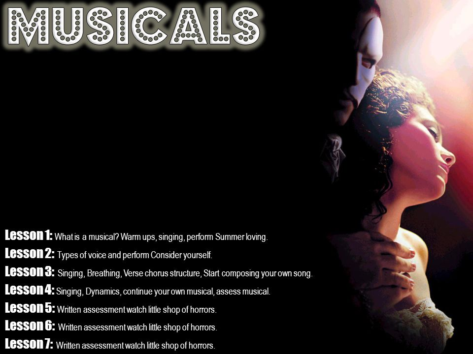 Lesson 1: What is a musical. Warm ups, singing, perform Summer loving.
