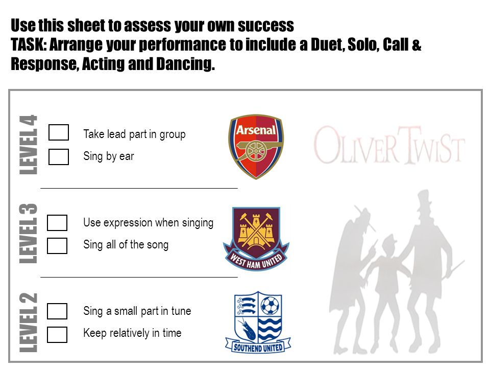 Take lead part in group Sing by ear Use expression when singing Sing all of the song Sing a small part in tune Keep relatively in time LEVEL 4 LEVEL 3 LEVEL 2 ASSESSMENT Lesson 6 Use this sheet to assess your own success TASK: Arrange your performance to include a Duet, Solo, Call & Response, Acting and Dancing.