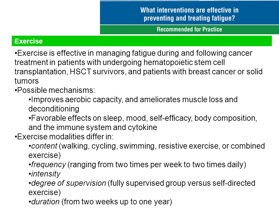 Exercise Exercise is effective in managing fatigue during and following cancer treatment in patients with undergoing hematopoietic stem cell transplantation, HSCT survivors, and patients with breast cancer or solid tumors Possible mechanisms: Improves aerobic capacity, and ameliorates muscle loss and deconditioning Favorable effects on sleep, mood, self-efficacy, body composition, and the immune system and cytokine Exercise modalities differ in: content (walking, cycling, swimming, resistive exercise, or combined exercise) frequency (ranging from two times per week to two times daily) intensity degree of supervision (fully supervised group versus self-directed exercise) duration (from two weeks up to one year)
