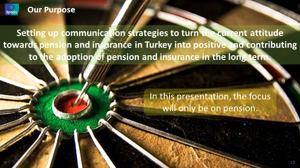 © 20 1 3 I psos // STF007 GAB – ISO 20252 Our Purpose 15 In this presentation, the focus will only be on pension. Setting up communication strategies