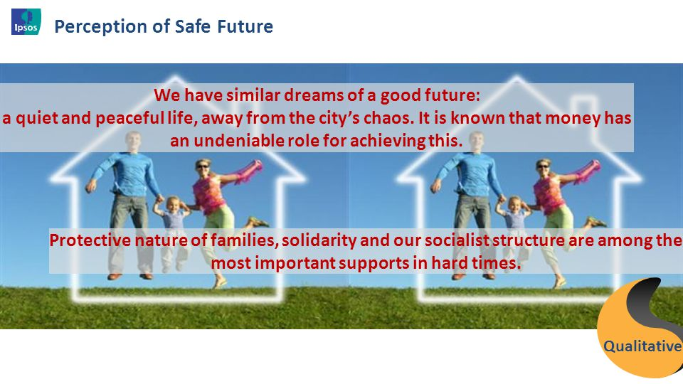 Perception of Safe Future 27 We have similar dreams of a good future: a quiet and peaceful life, away from the city's chaos. It is known that money ha