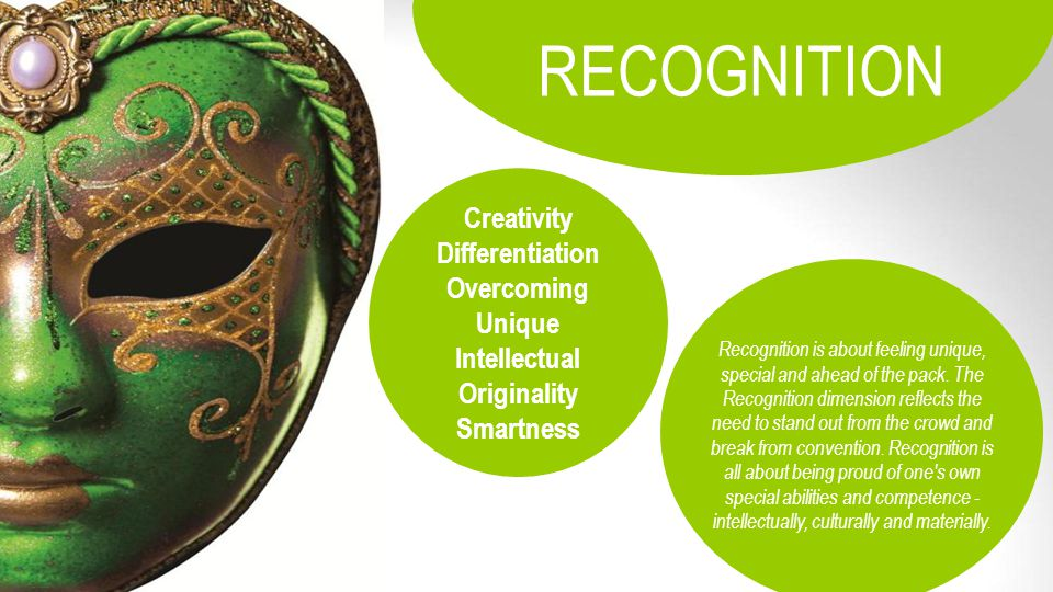 Creativity Differentiation Overcoming Unique Intellectual Originality Smartness RECOGNITION Recognition is about feeling unique, special and ahead of