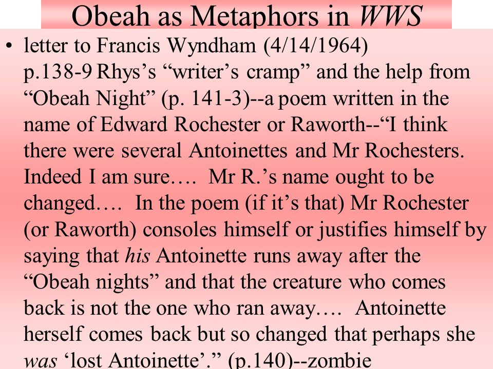 Obeah as Metaphors in WWS letter to Francis Wyndham (4/14/1964) p.138-9 Rhys's writer's cramp and the help from Obeah Night (p.