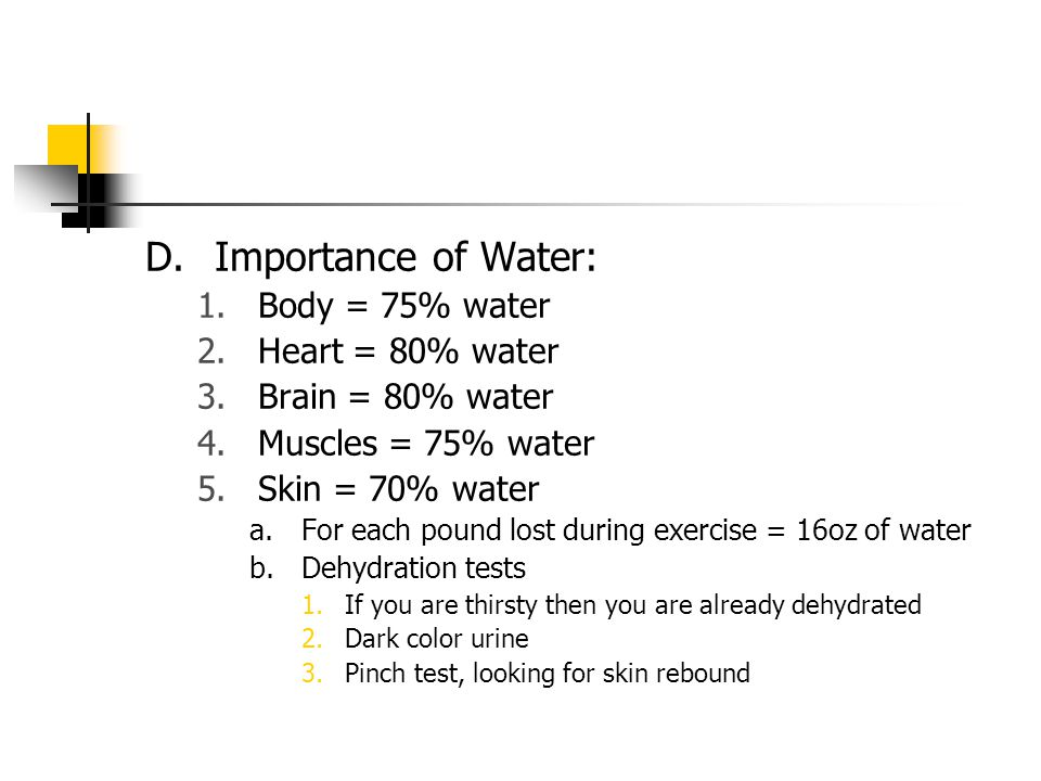 D.Importance of Water: 1.Body = 75% water 2.Heart = 80% water 3.Brain = 80% water 4.Muscles = 75% water 5.Skin = 70% water a.For each pound lost during exercise = 16oz of water b.Dehydration tests 1.If you are thirsty then you are already dehydrated 2.Dark color urine 3.Pinch test, looking for skin rebound