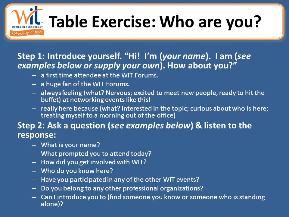 "Table Exercise: Who are you? Step 1: Introduce yourself. ""Hi! I'm (your name). I am (see examples below or supply your own). How about you?"" – a first"