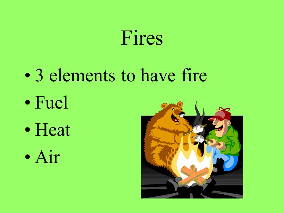 Fires 3 elements to have fire Fuel Heat Air