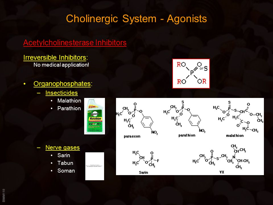 BIMM118 Cholinergic System - Agonists Acetylcholinesterase Inhibitors Irreversible Inhibitors: No medical application.