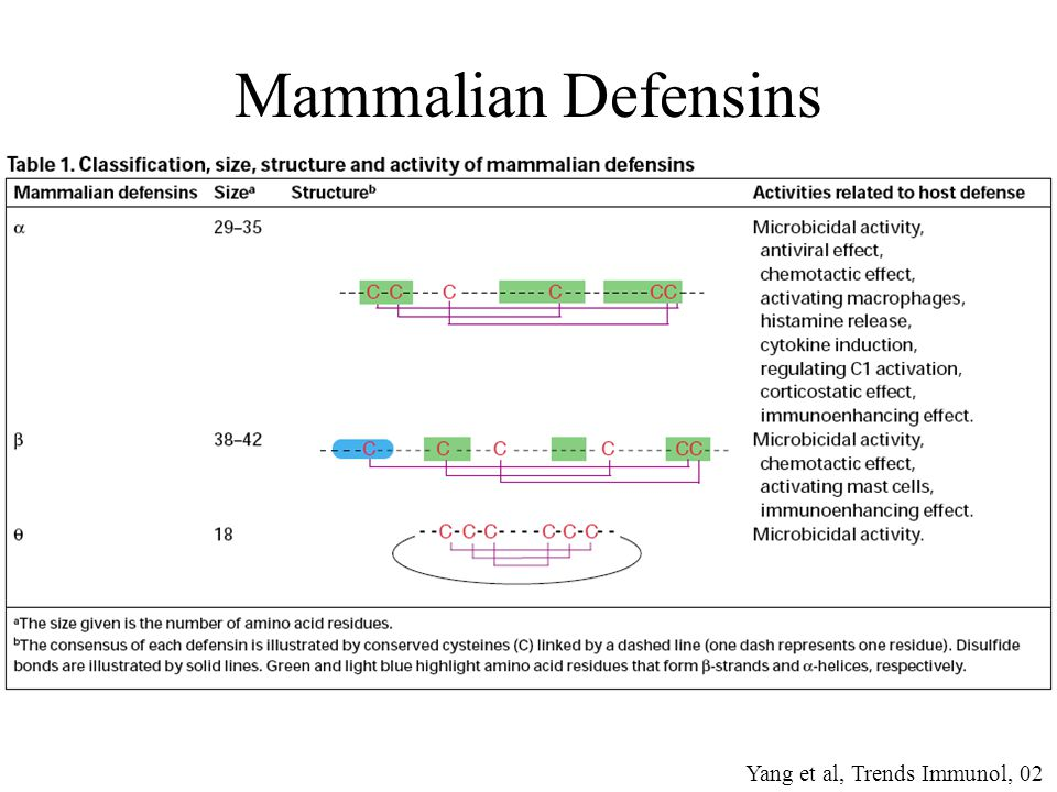 Mammalian Defensins Yang et al, Trends Immunol, 02