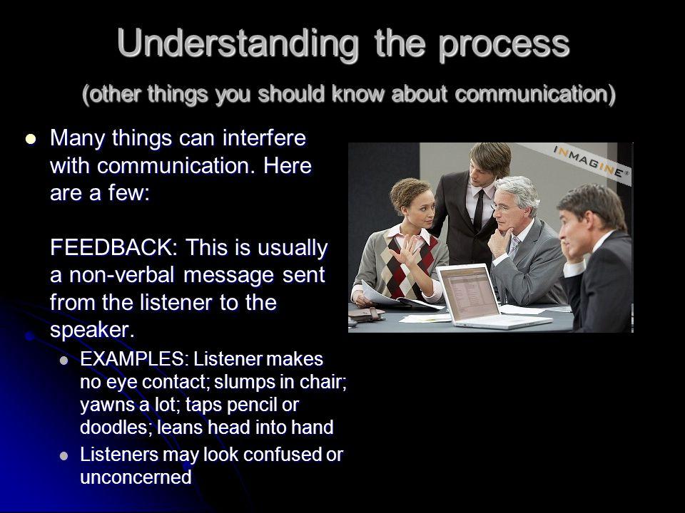 Understanding the Process (cont.) 1. Speaker 2. Message 3. Channel 4. Listener