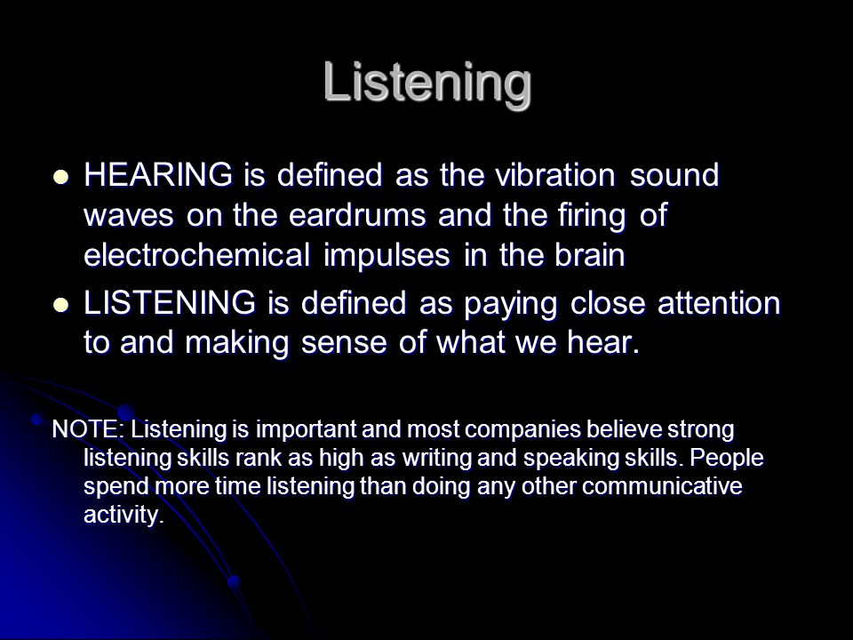 Let's talk about listening