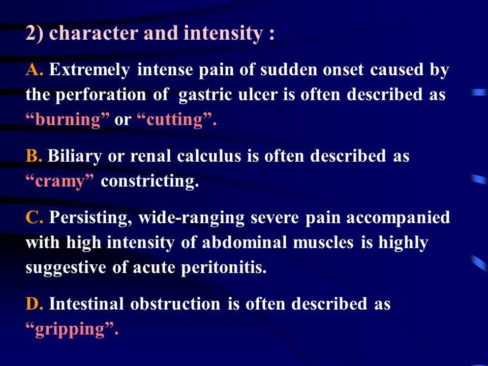 2) character and intensity : A.