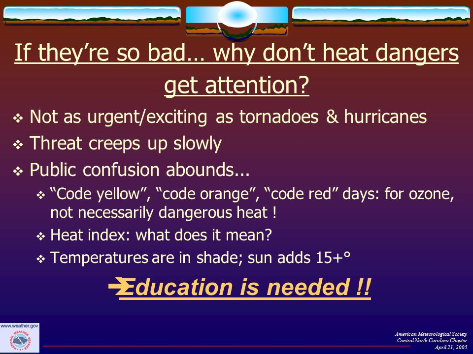 If they're so bad… why don't heat dangers get attention.