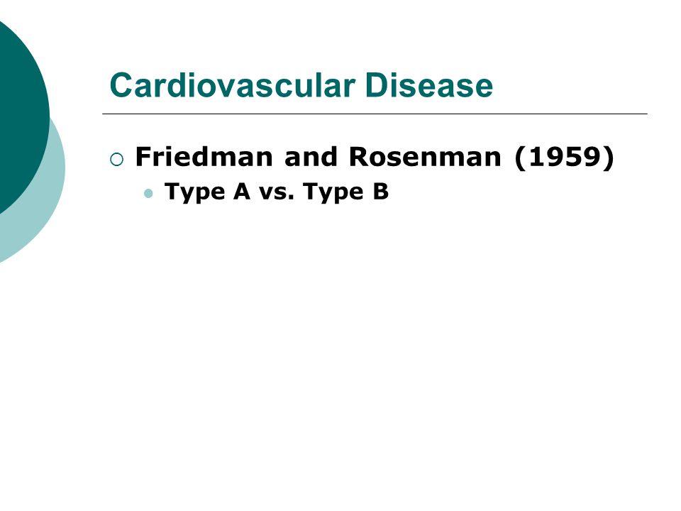 Cardiovascular Disease  Friedman and Rosenman (1959) Type A vs. Type B