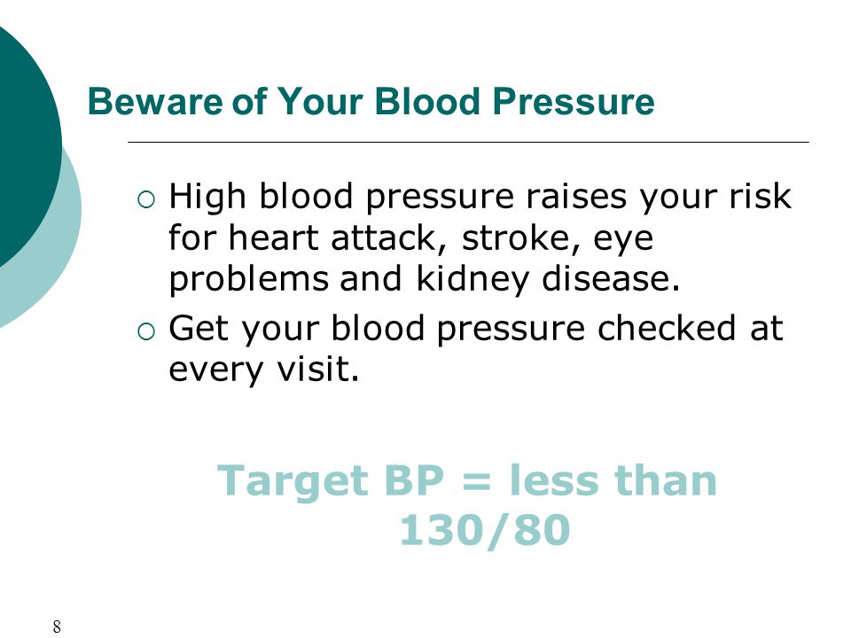 Beware of Your Blood Pressure  High blood pressure raises your risk for heart attack, stroke, eye problems and kidney disease.