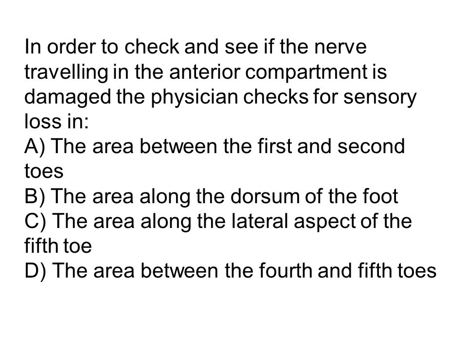 In order to check and see if the nerve travelling in the anterior compartment is damaged the physician checks for sensory loss in: A) The area between the first and second toes B) The area along the dorsum of the foot C) The area along the lateral aspect of the fifth toe D) The area between the fourth and fifth toes