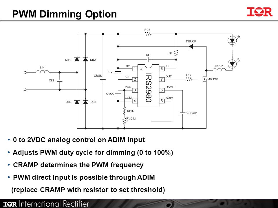 PWM Dimming Option 0 to 2VDC analog control on ADIM input Adjusts PWM duty cycle for dimming (0 to 100%) CRAMP determines the PWM frequency PWM direct