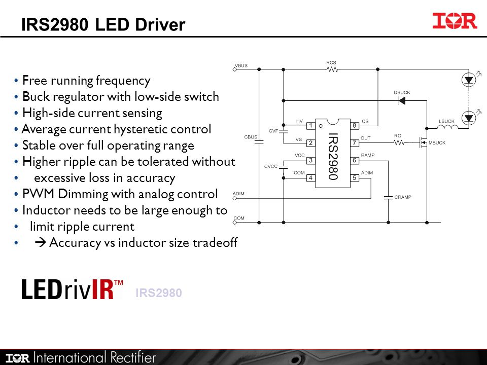 IRS2980 LED Driver Free running frequency Buck regulator with low-side switch High-side current sensing Average current hysteretic control Stable over