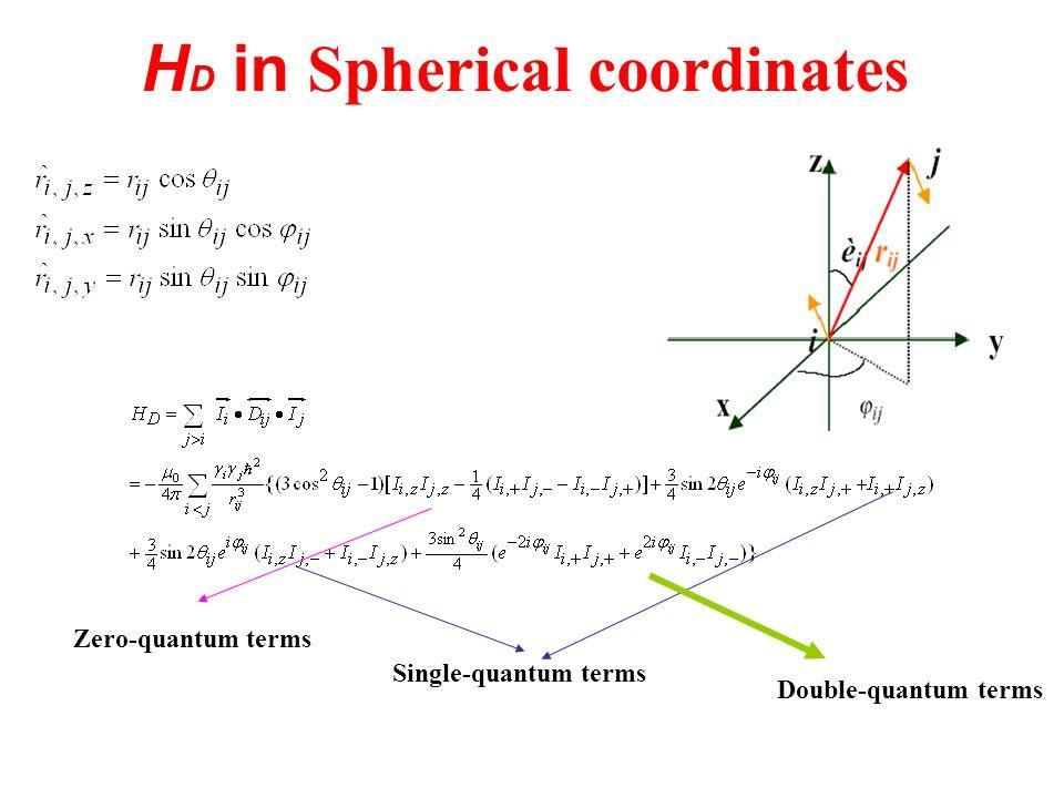 H D in Spherical coordinates Zero-quantum terms Single-quantum terms Double-quantum terms
