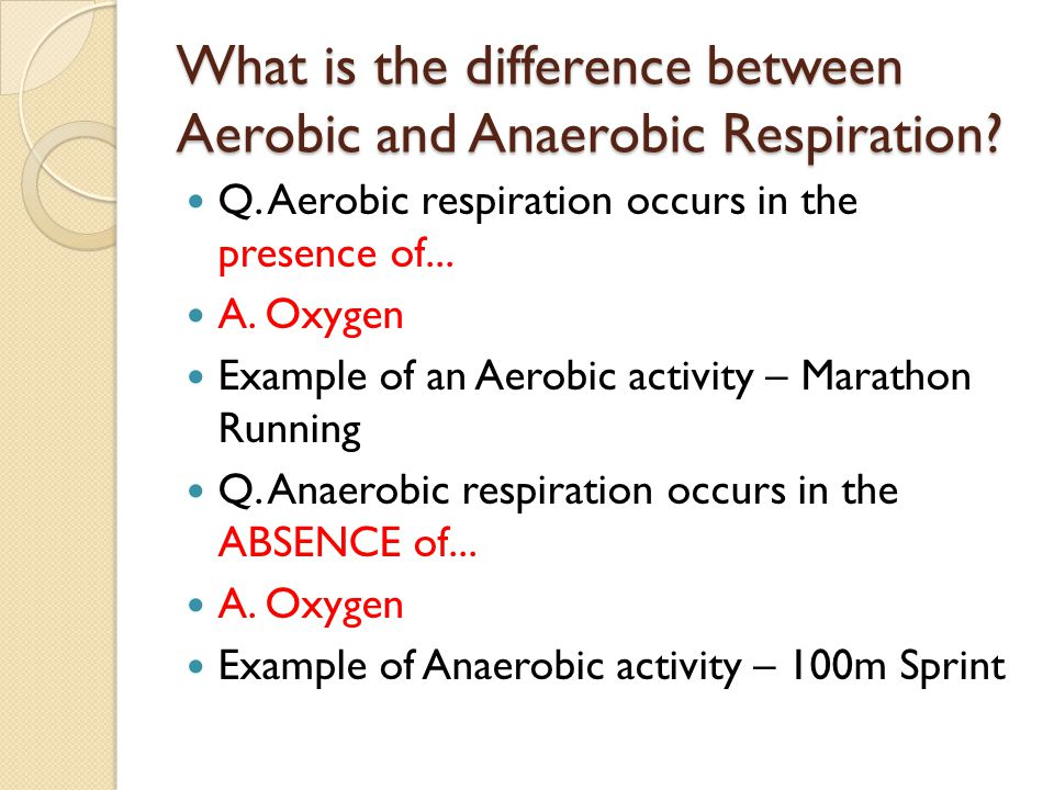 Aerobic Respiration Aerobic respiration occurs in the presence of oxygen and is summarised by the following equation : Glucose + Oxygen  Energy + Carbon Dioxide +Water This type of respiration is used when the body continues an activity for a prolonged period of time.