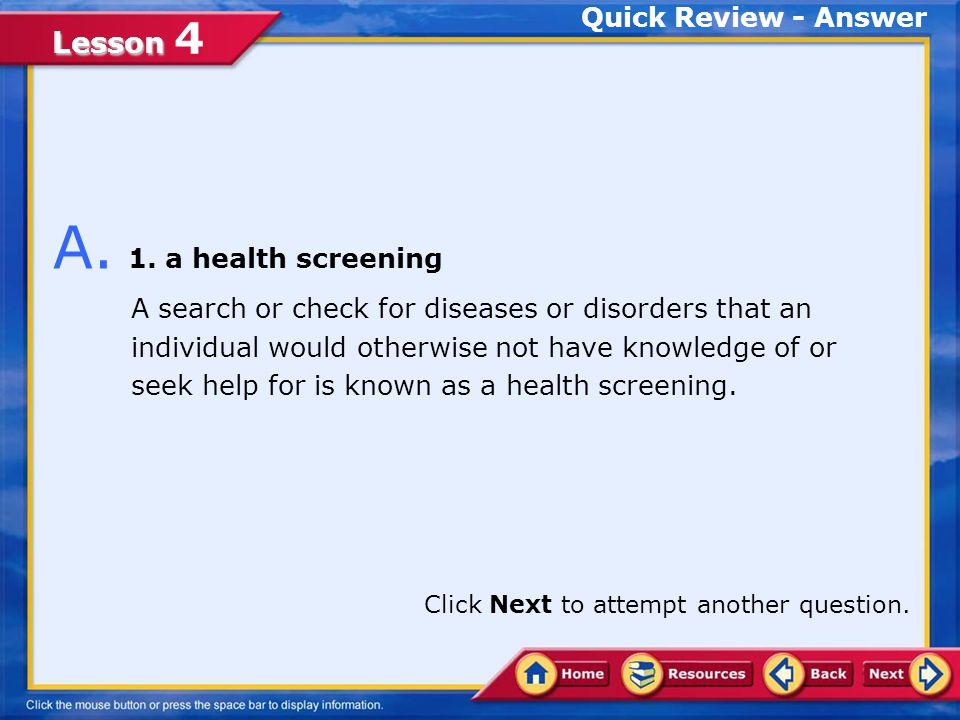 Lesson Lesson 4 1.a health screening 2.hydration 3.a training program 4.nutrition Q.