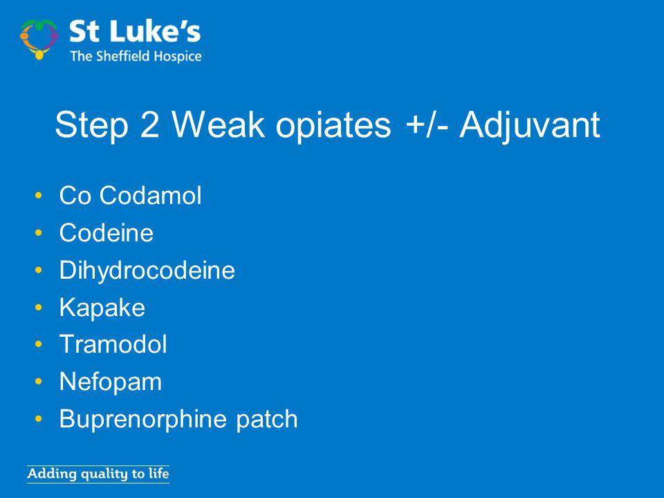 Step 2 Weak opiates +/- Adjuvant Co Codamol Codeine Dihydrocodeine Kapake Tramodol Nefopam Buprenorphine patch