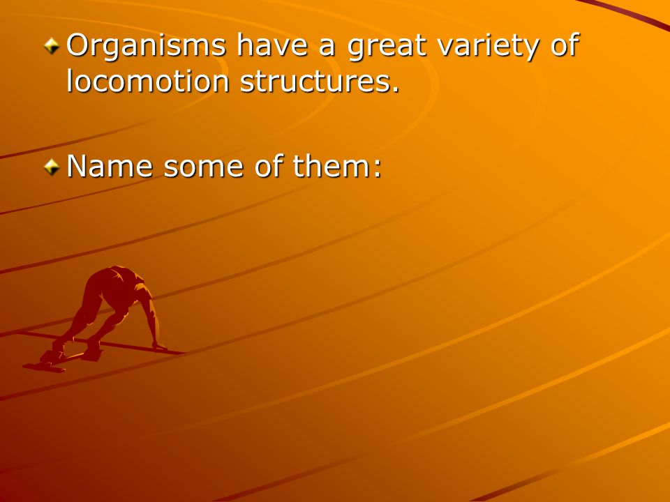 Organisms have a great variety of locomotion structures. Name some of them: