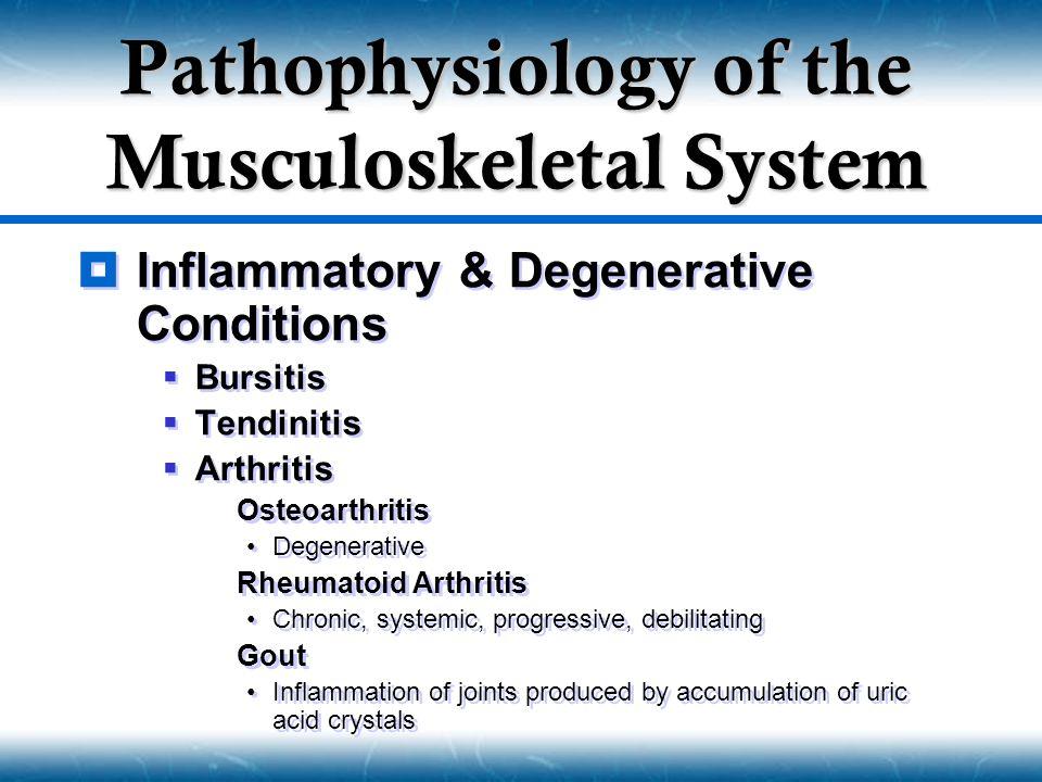  Inflammatory & Degenerative Conditions  Bursitis  Tendinitis  Arthritis  Osteoarthritis Degenerative  Rheumatoid Arthritis Chronic, systemic, p