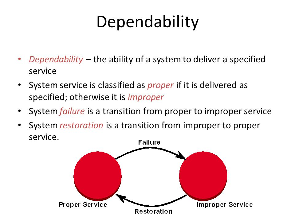 Dependability Dependability – the ability of a system to deliver a specified service System service is classified as proper if it is delivered as specified; otherwise it is improper System failure is a transition from proper to improper service System restoration is a transition from improper to proper service.