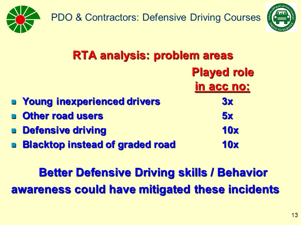 PDO & Contractors: Defensive Driving Courses 14 OLD PDO Driver Training: n Coast: –Only for young drivers (below 25 yrs): 8 hrs defensive driving –Others: None –No medical checks (vision/reactions) n Interior: –8 hrs Interior Driver Skills course every 3 years –No medical testing (vision/reactions) –Strong emphasis on graded/off road n Problems: –Does not address the changed environment –Too infrequent –Concentrates on skills rather than behaviour/attitude –No/very little competence assurance