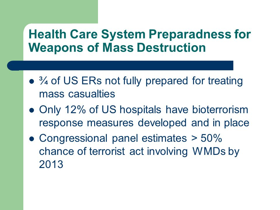 Health Care System Preparadness for Weapons of Mass Destruction ¾ of US ERs not fully prepared for treating mass casualties Only 12% of US hospitals have bioterrorism response measures developed and in place Congressional panel estimates > 50% chance of terrorist act involving WMDs by 2013