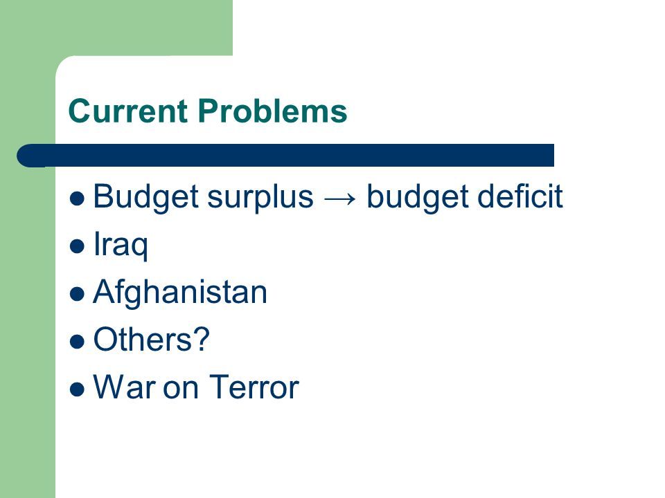 Current Problems Budget surplus → budget deficit Iraq Afghanistan Others War on Terror
