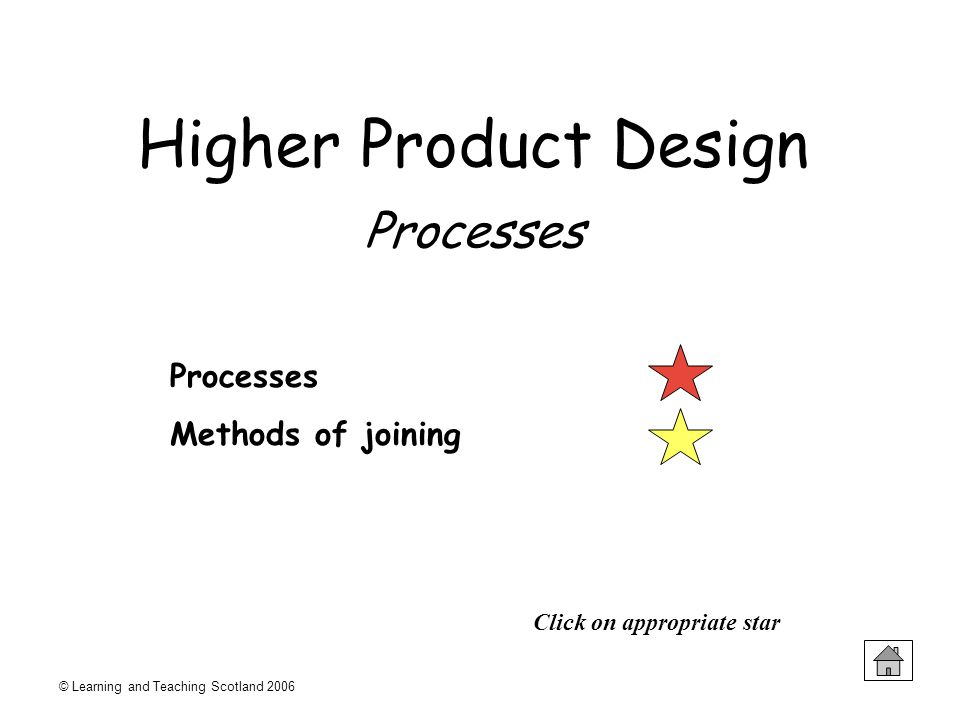 © Learning and Teaching Scotland 2006 Processes Methods of joining Click on appropriate star Higher Product Design Processes