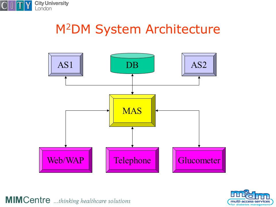 MIMCentre …thinking healthcare solutions M 2 DM System Architecture DB AS1AS2 MAS Web/WAPTelephoneGlucometer