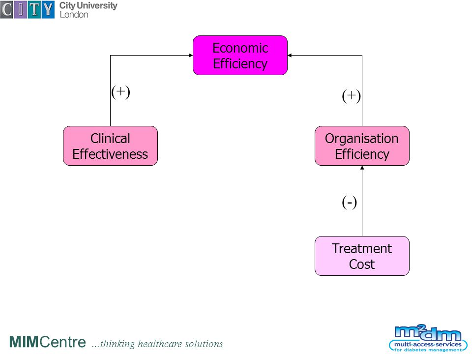 MIMCentre …thinking healthcare solutions Economic Efficiency Clinical Effectiveness Organisation Efficiency (+) Treatment Cost (-)