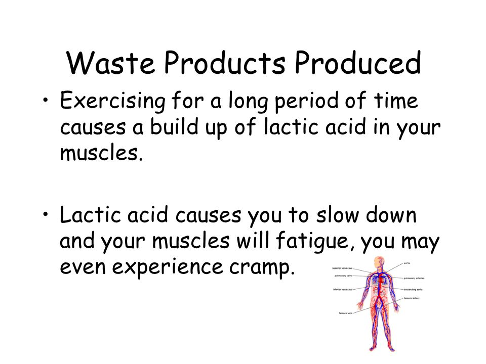 Waste Products Produced Exercising for a long period of time causes a build up of lactic acid in your muscles.