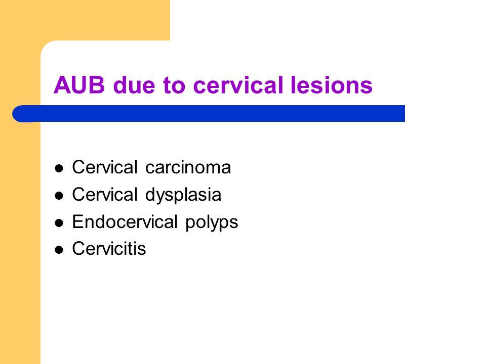 AUB due to cervical lesions Cervical carcinoma Cervical dysplasia Endocervical polyps Cervicitis