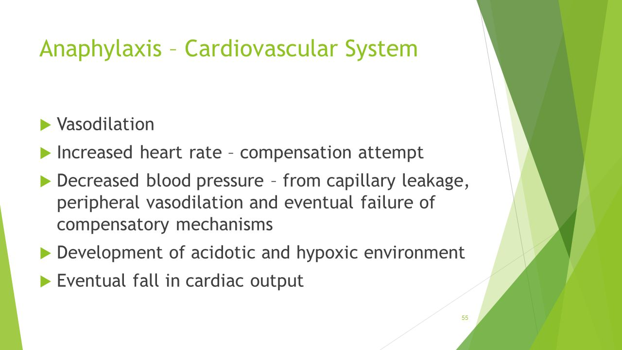 Anaphylaxis – Cardiovascular System  Vasodilation  Increased heart rate – compensation attempt  Decreased blood pressure – from capillary leakage,