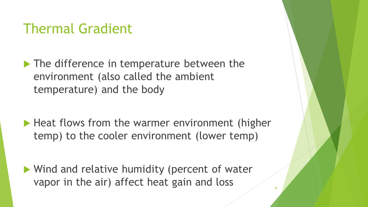 Thermal Gradient  The difference in temperature between the environment (also called the ambient temperature) and the body  Heat flows from the warm