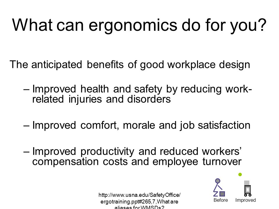 http://www.usna.edu/SafetyOffice/ ergotraining.ppt#265,7,What are aliases for WMSDs? What can ergonomics do for you? The anticipated benefits of good