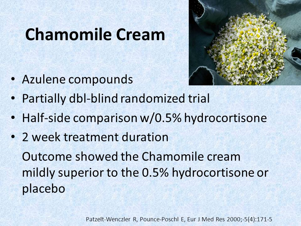 Chamomile Cream Azulene compounds Partially dbl-blind randomized trial Half-side comparison w/0.5% hydrocortisone 2 week treatment duration Outcome sh