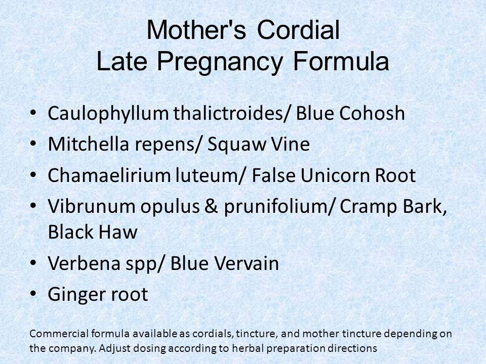 Mother's Cordial Late Pregnancy Formula Caulophyllum thalictroides/ Blue Cohosh Mitchella repens/ Squaw Vine Chamaelirium luteum/ False Unicorn Root V