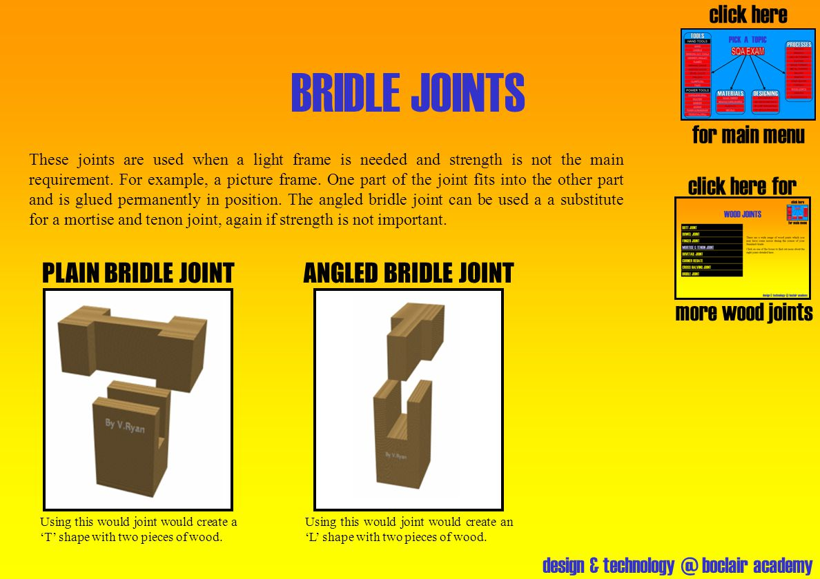design & technology @ boclair academy BRIDLE JOINTS click here for more wood joints PLAIN BRIDLE JOINT click here for main menu These joints are used