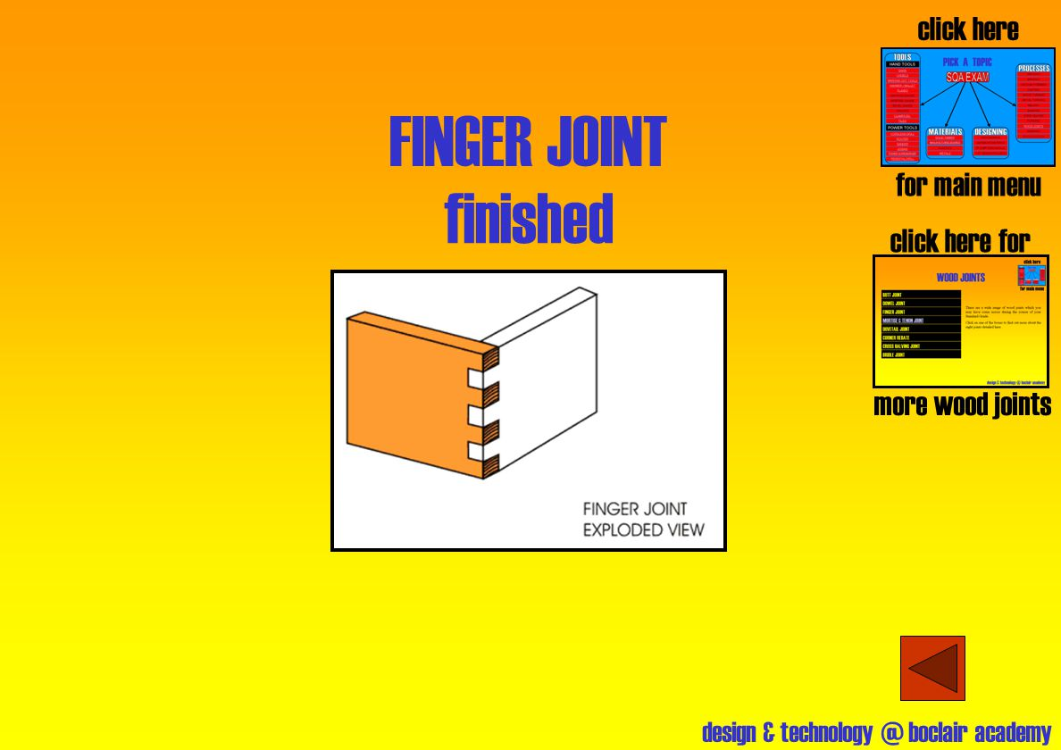 design & technology @ boclair academy FINGER JOINT finished click here for main menu click here for more wood joints