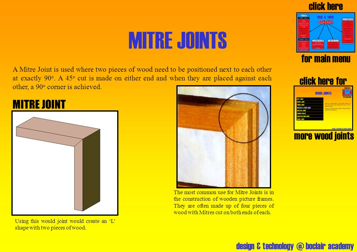 design & technology @ boclair academy MITRE JOINTS click here for more wood joints click here for main menu MITRE JOINT A Mitre Joint is used where tw