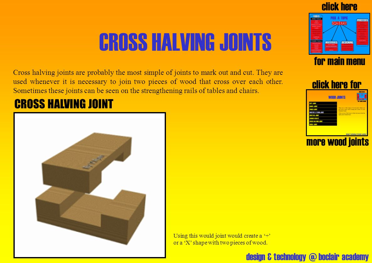 design & technology @ boclair academy CROSS HALVING JOINTS click here for more wood joints click here for main menu CROSS HALVING JOINT Cross halving