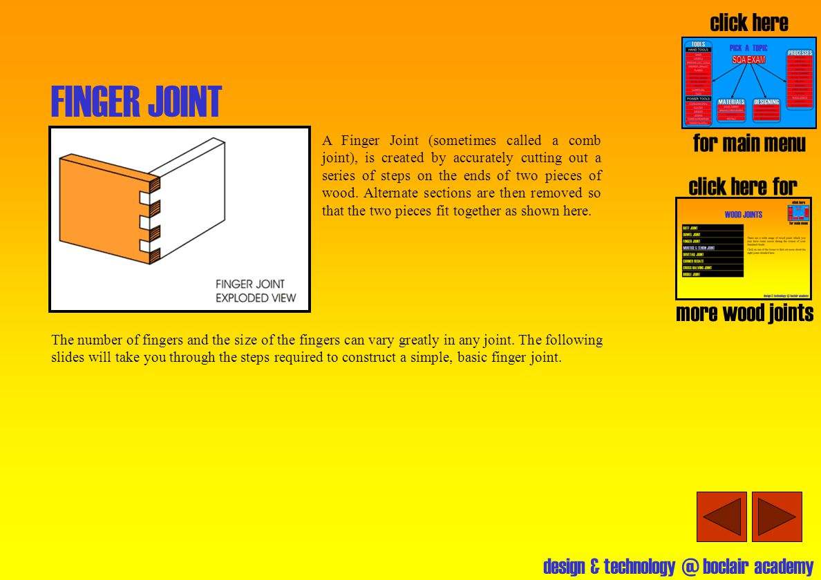 design & technology @ boclair academy MITRE JOINTS click here for more wood joints click here for main menu MITRE JOINT A Mitre Joint is used where two pieces of wood need to be positioned next to each other at exactly 90 o.