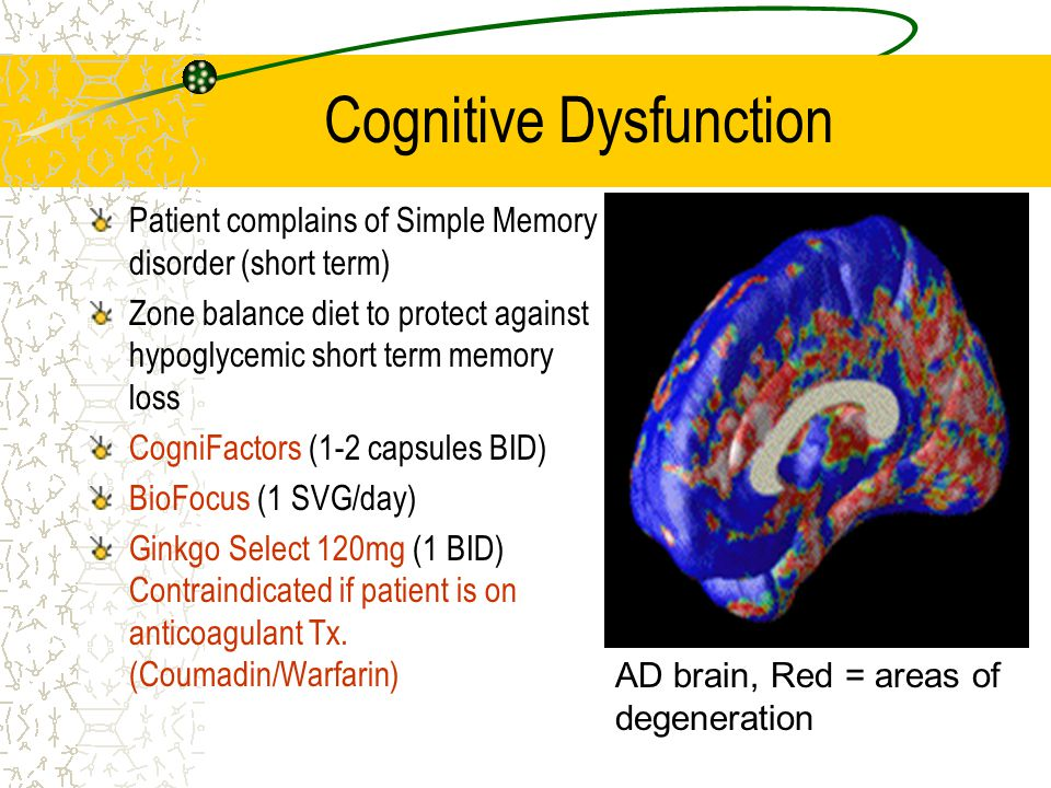 Cognitive Dysfunction Patient complains of Simple Memory disorder (short term) Zone balance diet to protect against hypoglycemic short term memory los