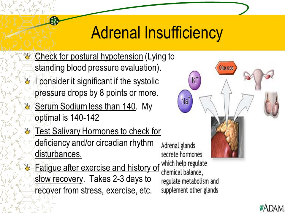 Adrenal Insufficiency Check for postural hypotension (Lying to standing blood pressure evaluation).