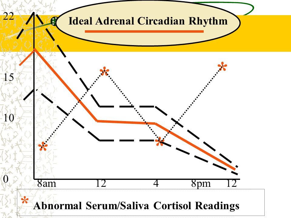 22 15 10 0 8am124 8pm 12 Ideal Adrenal Circadian Rhythm * * * * Abnormal Serum/Saliva Cortisol Readings *